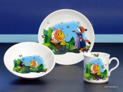 Dětský porcelán Viola 024, dekor koblížek a liška Moritz Zdekauer