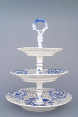 Etažér 3-dílný prolamovaný s porcelánovou tyčkou Český porcelán