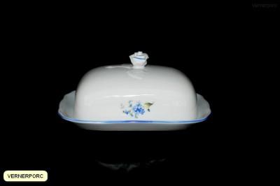 Hranatá máslenka s dekorem pomněnek Český porcelán