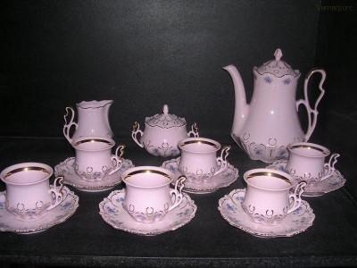 Kávová souprava Lenka z růžového porcelánu Thun