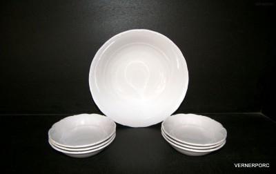 Kompotová souprava Verona, bílý porcelán 7 dílný G. Benedikt