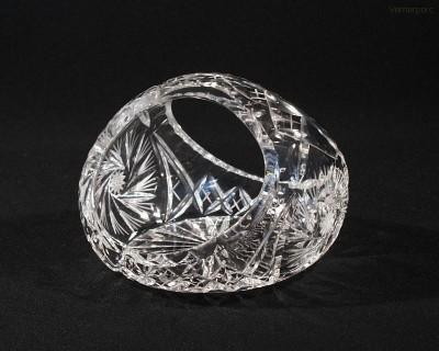 Koš křišťálový broušený 96015/26008/165  16,5 cm Tom Crystal Bohemia