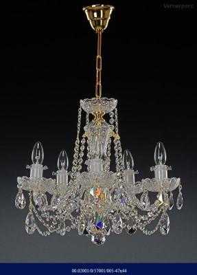 Křišťálový broušený lustr 5-ramenný 47x44cm Tom Crystal Bohemia