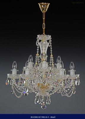 Křišťálový broušený lustr 6+3-ramenný 60x62cm Tom Crystal Bohemia