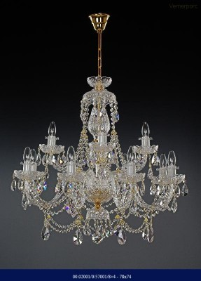 Křišťálový broušený lustr 8+4ramenný 78x74cm Tom Crystal Bohemia