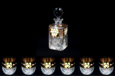 Křišťálový broušený set na rum 57011 7 dílný. Tom Crystal Bohemia