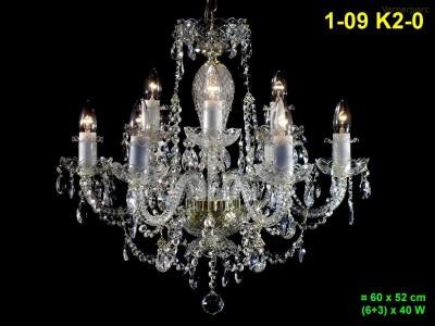 Křišťálový lustr 9-ti ramenný 60x52cm PL, INL