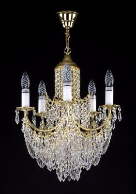 Křišťálový lustr brilliant 8L264CE6 45x60 cm 6 světel, zlacený řetěz ART JBC