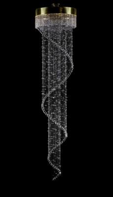Křišťálový moderní lustr 6L448CE8 60x250 cm, 8 světel, zlacený ART JBC