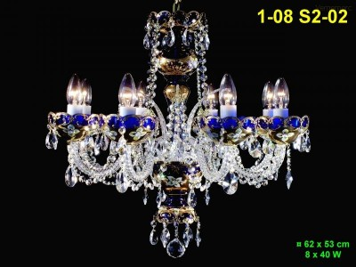 Lustr ze smaltovaného skla 8-ramenný 62x53cm PL, INL