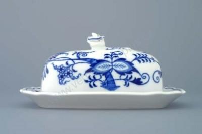 Malá hranatá máselnice, cibulový porcelán Český porcelán