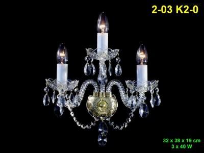 Nástěnné křišťálové svítidlo 3-ramenné 32x38x19cm PL, INL