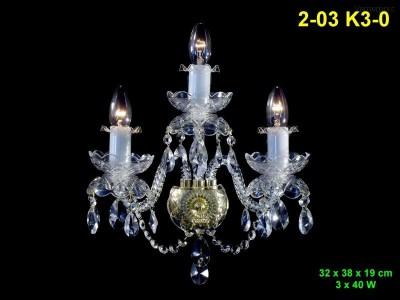 Nástěnné svítidlo křišťálové 3-ramenné 32x38x19cm PL, INL