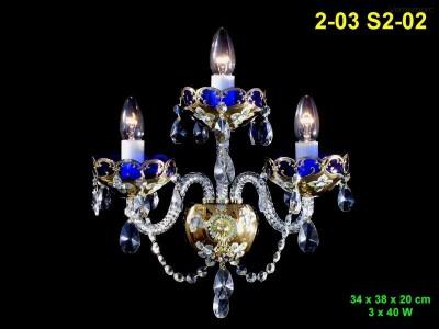 Nástěnné svítidlo ze smaltovaného skla 3-ramenné 34x38x20cm PL, INL