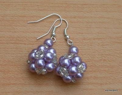 Naušnice z fialových perliček MČ
