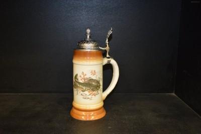 Pivní korbel s cínovým víkem 0,5l. dekor pstruh II. Becom