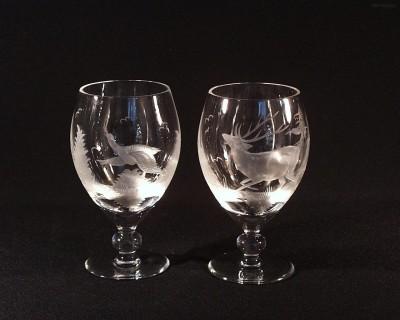 Pivní pohár křišťál jelen ptáci 350 ml. 2ks 10119/00001/350PJ Tom Crystal Bohemia