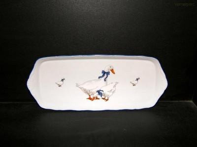 Čtyřhranný porcelánový podnos s dekorem husa, 36cm Moritz Zdekauer