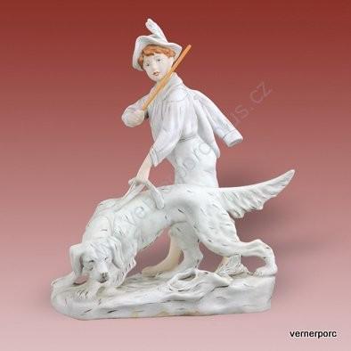 Porcelánová soška chlapce se psem Royal Dux Bohemia