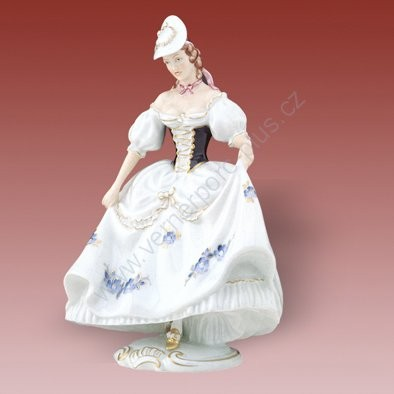 Porcelánová soška dámy z kloboukem Royal Dux Bohemia
