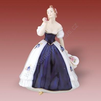 Porcelánová soška dáma s kloboukem a růžemi Royal Dux Bohemia