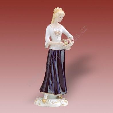 Porcelánová soška dívky s hrozny Royal Dux Bohemia