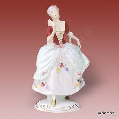 Porcelánová soška dívky s vějířem Royal Dux Bohemia
