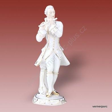Porcelánová soška hudebníka z rokoka Royal Dux Bohemia