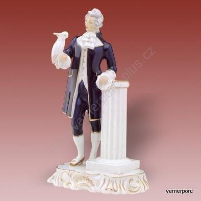Porcelánová soška muže s papouškem Royal Dux Bohemia