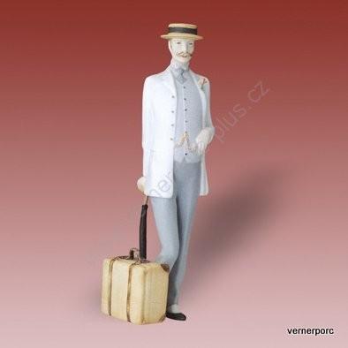 Porcelánová soška pána s kufrem a deštníkem Royal Dux Bohemia