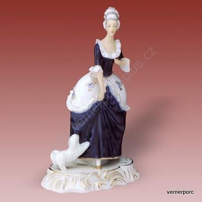Porcelánová soška paní s psíkem Royal Dux Bohemia
