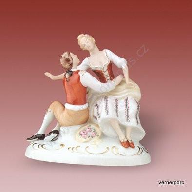 Porcelánová soška schůzky milenců Royal Dux Bohemia