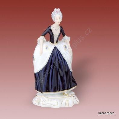 Porcelánová soška slečny z rokoka Royal Dux Bohemia