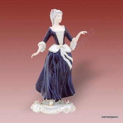 Porcelánová soška slečny z rokoka s mašlí Royal Dux Bohemia