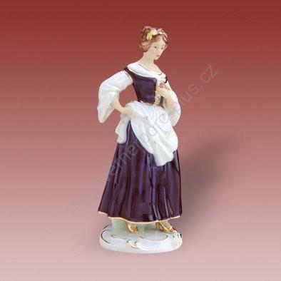 Porcelánová soška slečny s květinou Royal Dux Bohemia