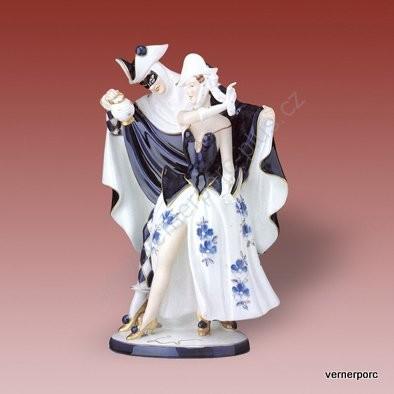 Porcelánová soška tance s maskou Royal Dux Bohemia