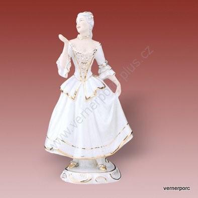 Porcelánová soška tanečnice z rokoka, bílý porcelán Royal Dux Bohemia