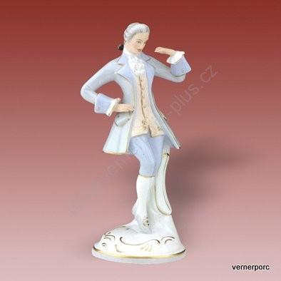 Porcelánová soška tanečníka z rokoka Royal Dux Bohemia