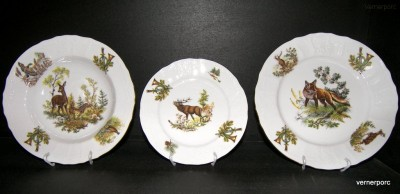 Porcelánová talířová souprava Bernadotte myslivecká 1011 18d. Concordia