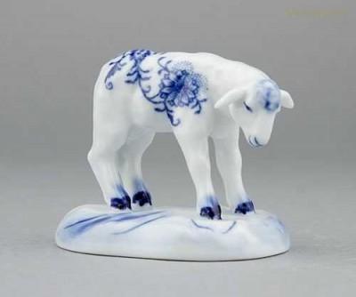 Porcelánové figurky - Jehně s hlavou dolů Český porcelán