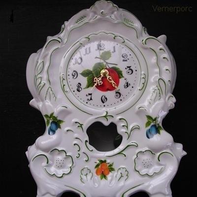 Porcelánové hodiny krbové 80H 32 cm Leander Loučky