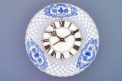 Porcelánové hodiny reliéfní 24cm Český porcelán