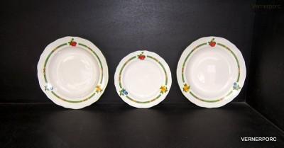 Sada talířů, dekor ovoce, slonová kost Český porcelán