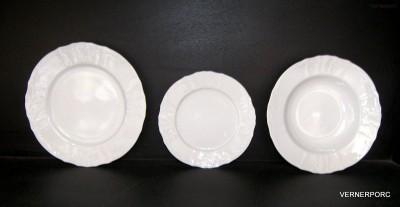 Sada talířů Bernadotte, bílý porcelán Concordia