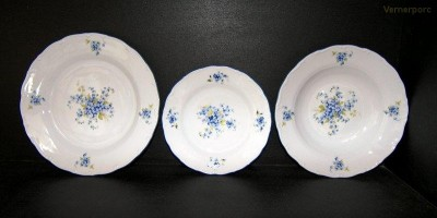 Sada talířů pomněnky, porcelán Verona 18 dílný. Jeremy