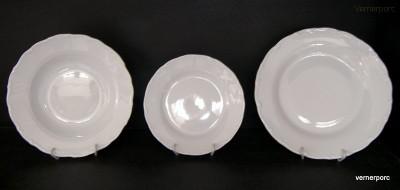 Sada talířů Verona, bílý porcelán 18 dílná. G. Benedikt