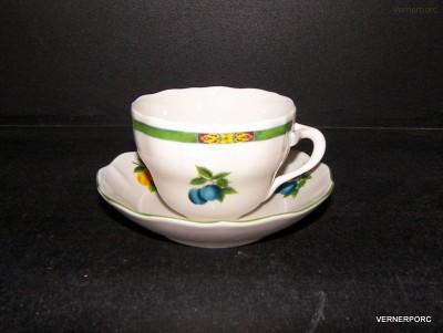Šálek s podšálkem B, dekor ovoce Český porcelán