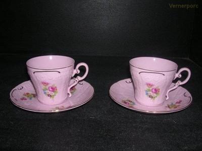 Šálek s podšálkem Ela z růžového porcelánu 2 ks Leander Loučky