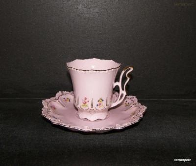 Šálek s podšálkem Lenka, růžový porcelán Epiag