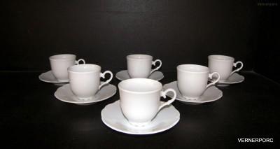 Šálek s podšálkem na kávu, Ofelie, bílý porcelán Moritz Zdekauer